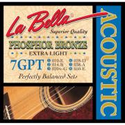 Encordoamento para Violão Aço Phosphor Bronze Extra Light La Bella 0.10 7GPT