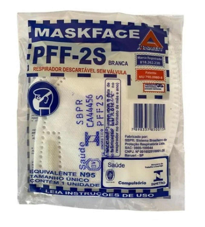 MÁSCARA PFF2 MASKFACE SV BRANCA CA 44456 AIRSAN(N95) AIRSAFETY