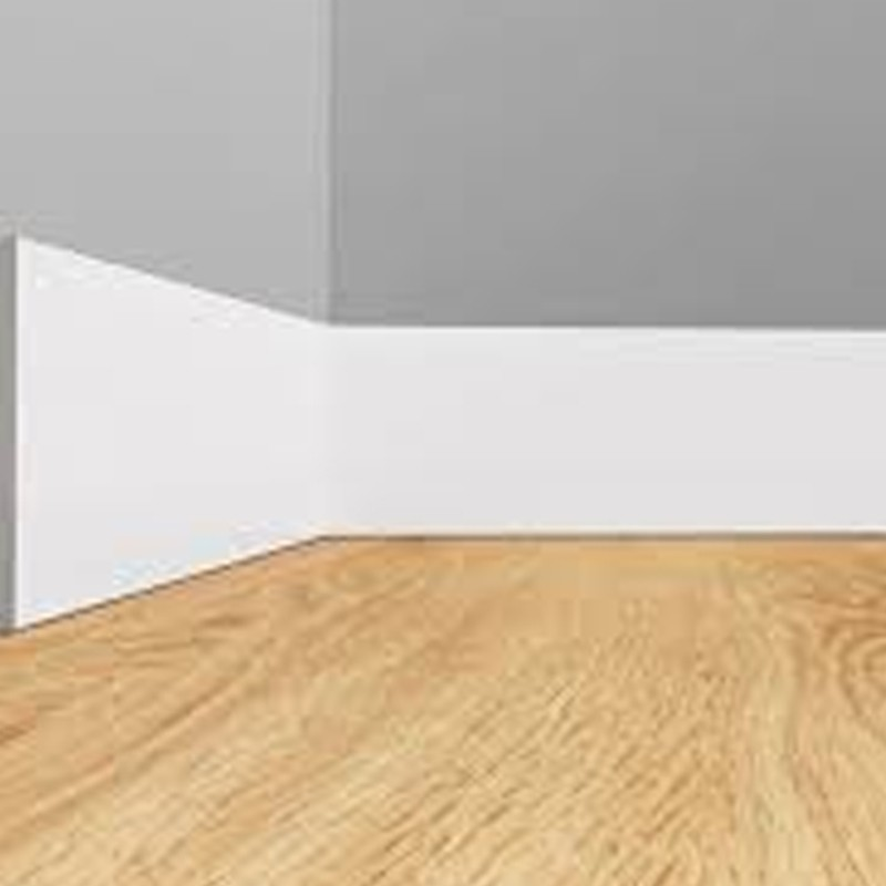 Rodapé de Poliestireno Liso - Branco - 20cm de altura  (20x1x240cm)