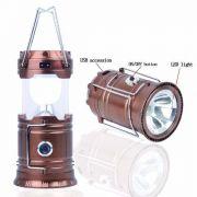 Lampião Solar Led Usb Lanterna Bateria Recarregavel Retratil