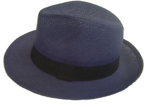 Chapéu Fedora Panamá Unissex Azul Marinho