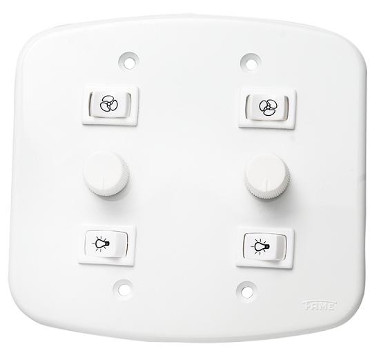 Controle 4x4 Rotativo p/ ventiladores de teto - Bivolt - (p/ 2 ventiladores )