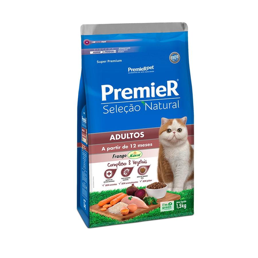 Ração Premier Seleção Natural Frango Korin para Gatos Adultos a partir de 12 meses