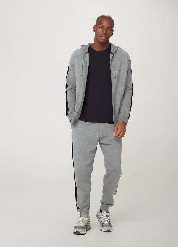 Blusão masculino os vingadores em moletom com capuz e bolso canguru cinza mescla escuro
