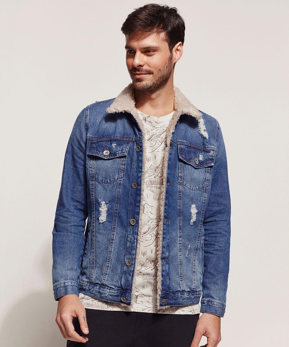 Jaqueta jeans masculina com rasgos e pelo azul médio
