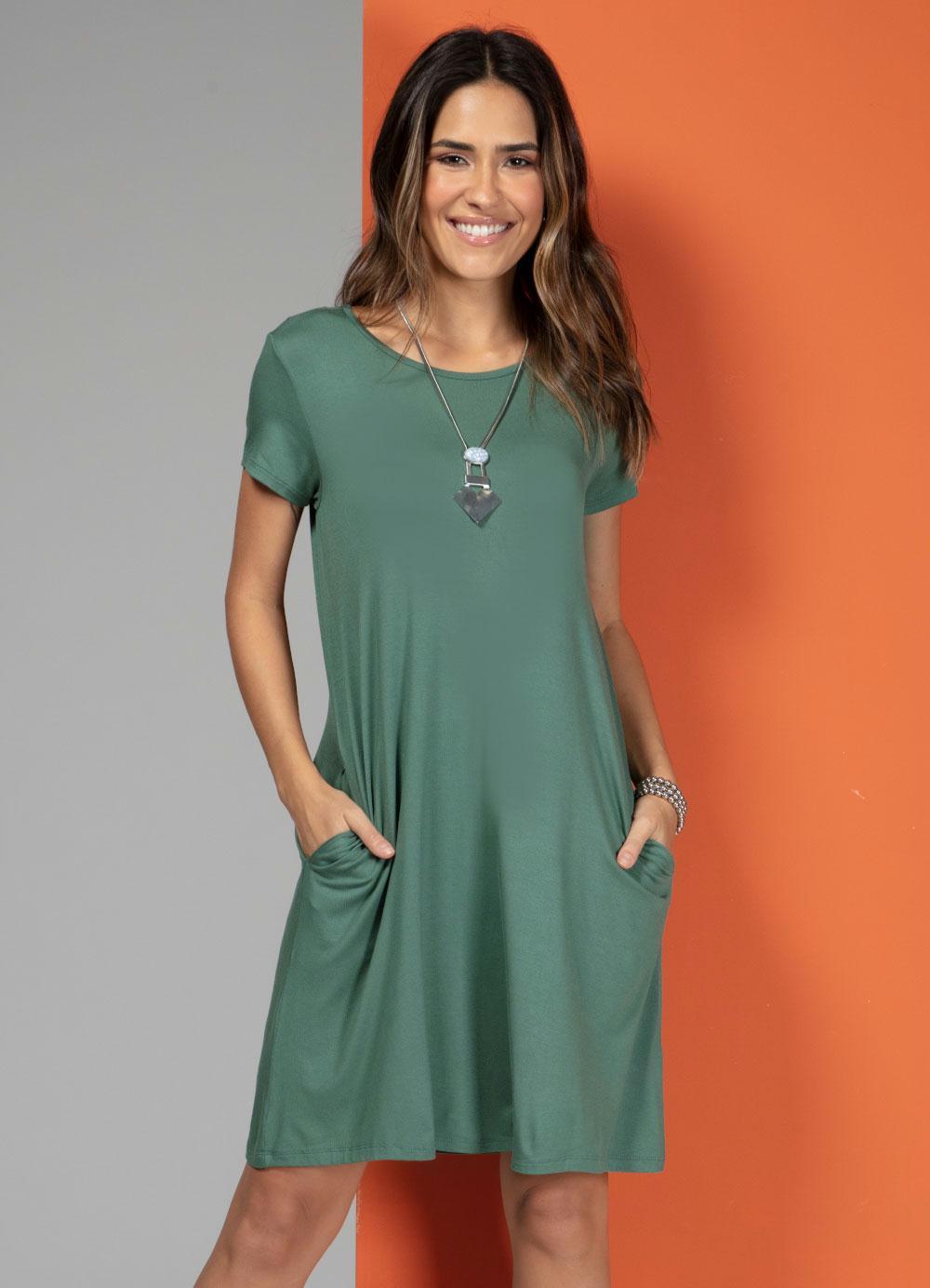 Vestido com Bolsos Verde com Mang