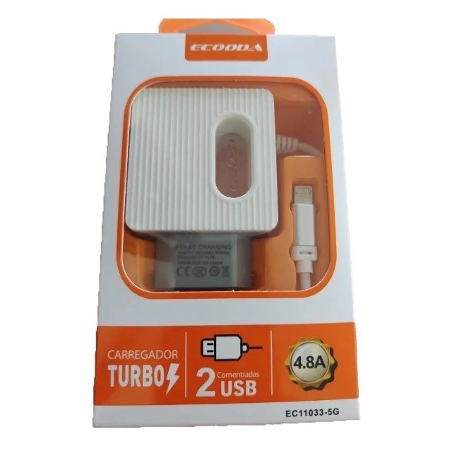 CARREGADOR TURBO 4.8A IPHONE EC11033-5G ECOODA