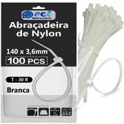 Abraçadeira De Nylon 140 X 3,6 mm Branca com 100 unidades