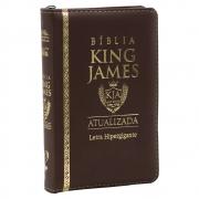 Bíblia King James Atualizada | BKJA | Zíper | Letra Hipergigante | Capa Pu Marrom
