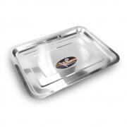 10 Bandejas Retangular Inox 36x27cm porção comida servir salada Ke Home 3104-3627KH