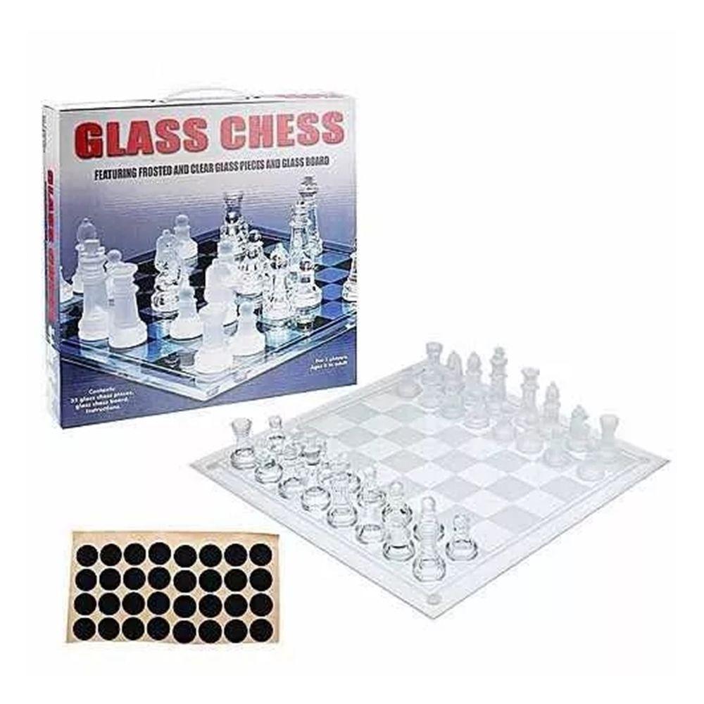 Jogo de xadrez com tabuleiro e peças de vidro 20x20cm Casita IM42045-1