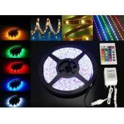 Fita LED RGB 12V 5050 72W C/ 5 Metros IP65 - C/ Controle Remoto
