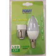 L�mpada LED Vela 4W Leitosa E-14/E-27