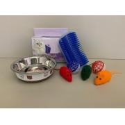 Kit Brinquedos para Gatos: Ratinho + Bolinha + Massageadora + Potinho