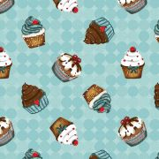 Tecido Digital Cupcakes Turquesa