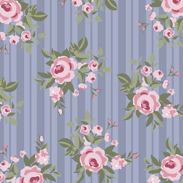Floral Pássaros  lavanda  - Tecidos Digitais