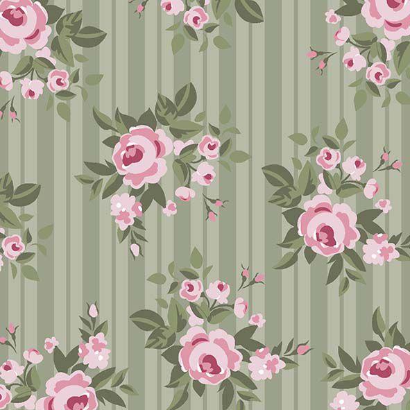 Floral Pássaros  Verde  - Tecidos Digitais