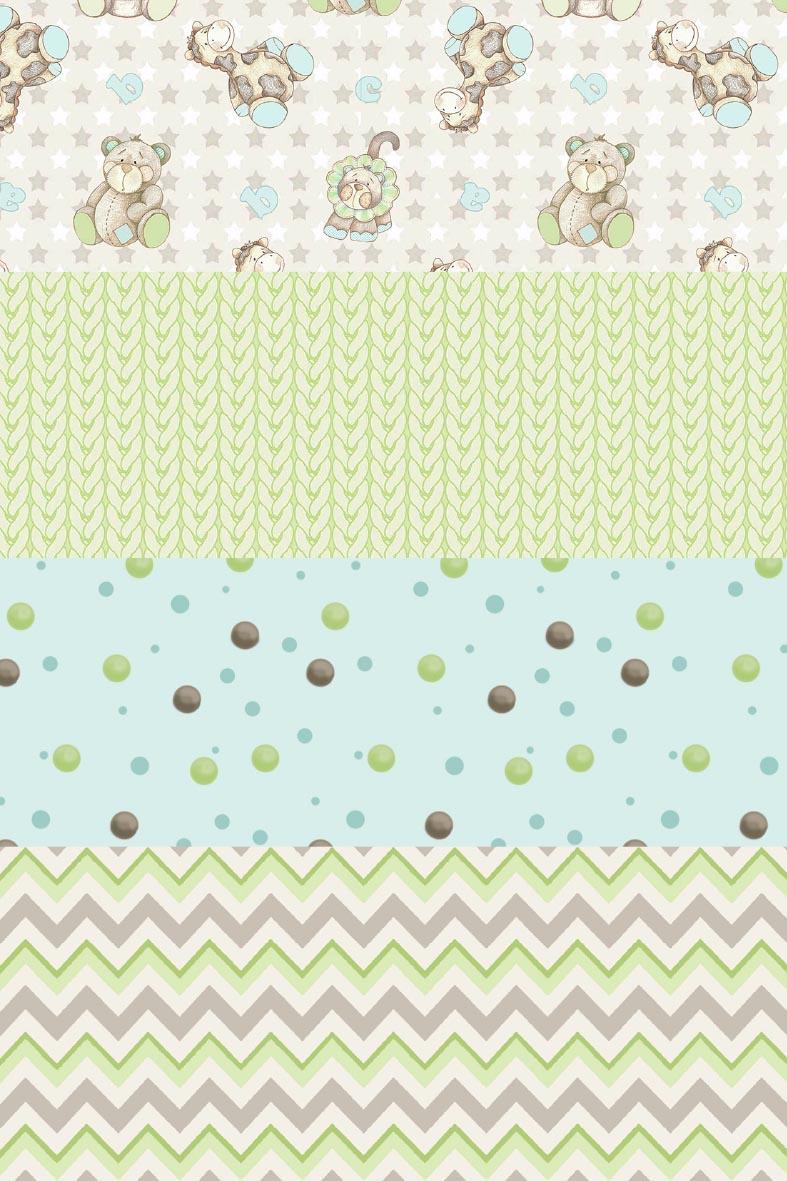 Kit Coleção Baby Safari Menino  - Tecidos Digitais