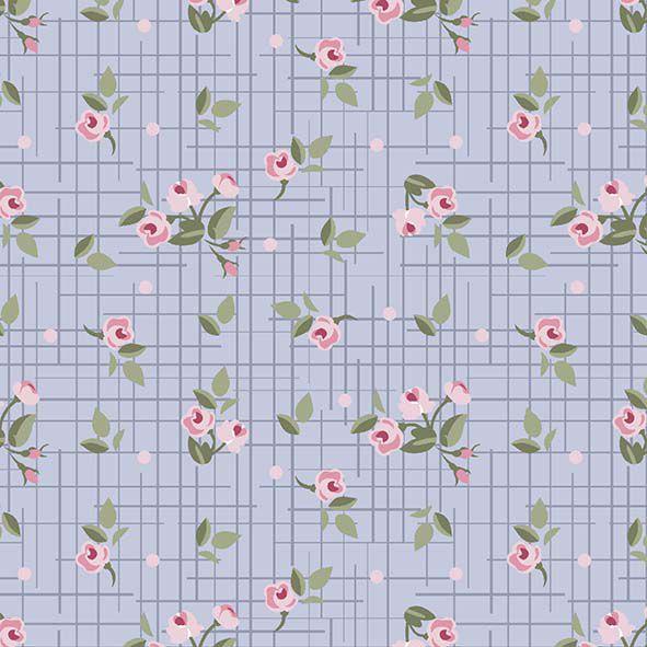 Mini floral Pássaros  lavanda  - Tecidos Digitais
