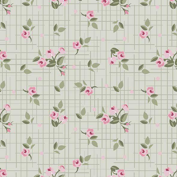 Mini Floral Pássaros  Verde  - Tecidos Digitais