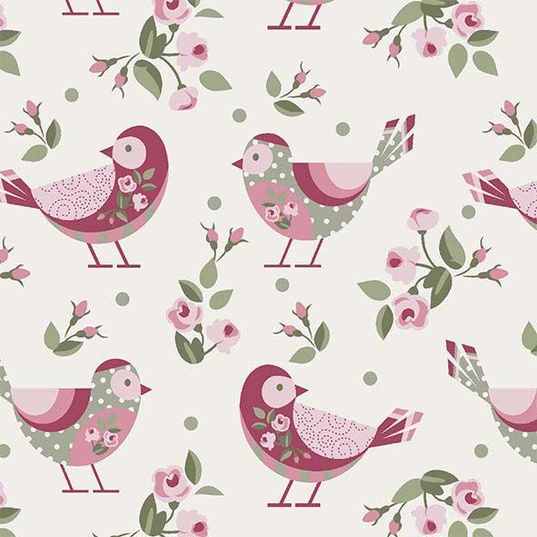 Pássaros fundo Bege  - Tecidos Digitais