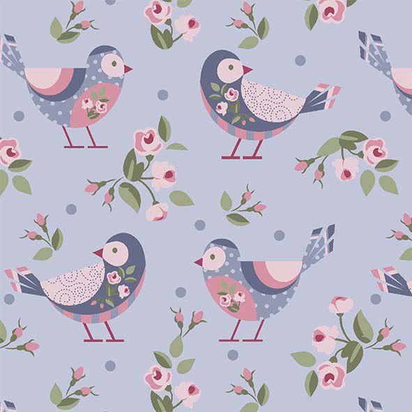 Pássaros fundo lavanda  - Tecidos Digitais