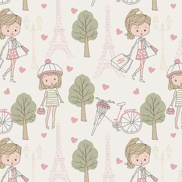 Tecido Compras em Paris Rosa  - Tecidos Digitais