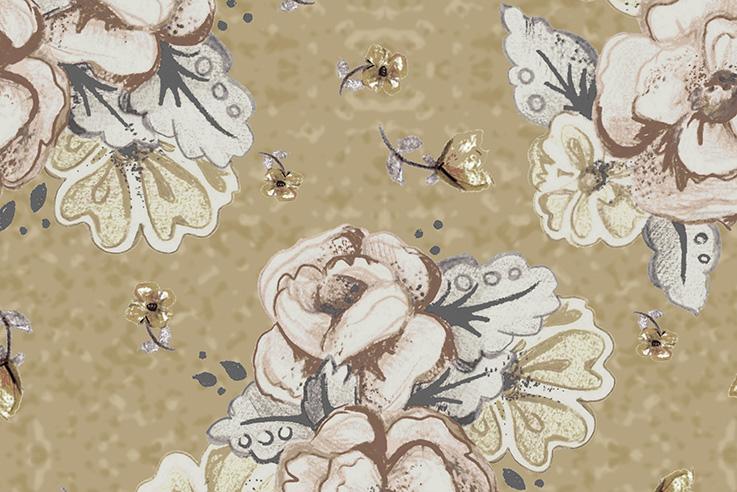 Tecido Digital Bouquet Grande Bege  - Tecidos Digitais