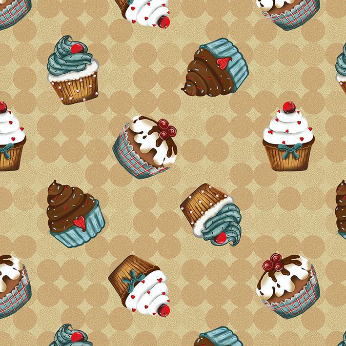 Tecido Digital Cupcakes Bege  - Tecidos Digitais