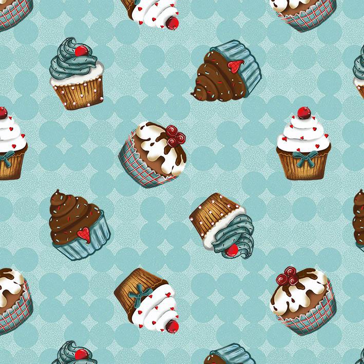 Tecido Digital Cupcakes Turquesa  - Tecidos Digitais