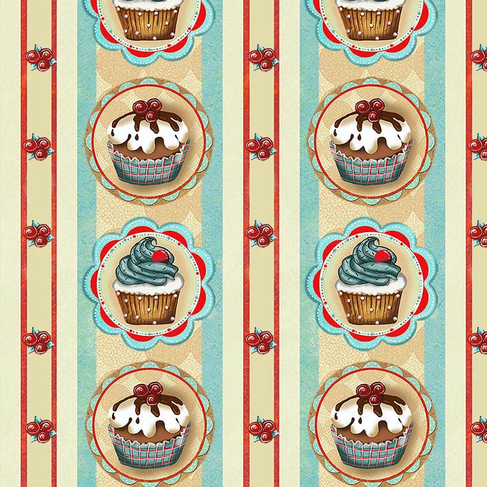 Tecido Digital Faixas Cupcake  - Tecidos Digitais