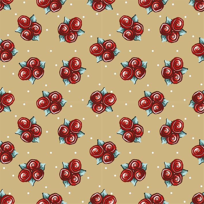 Tecido Digital Flores Glacê Bege  - Tecidos Digitais