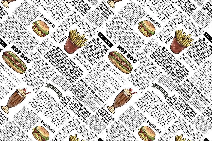 Tecido Digital Menu Fast Food  - Tecidos Digitais