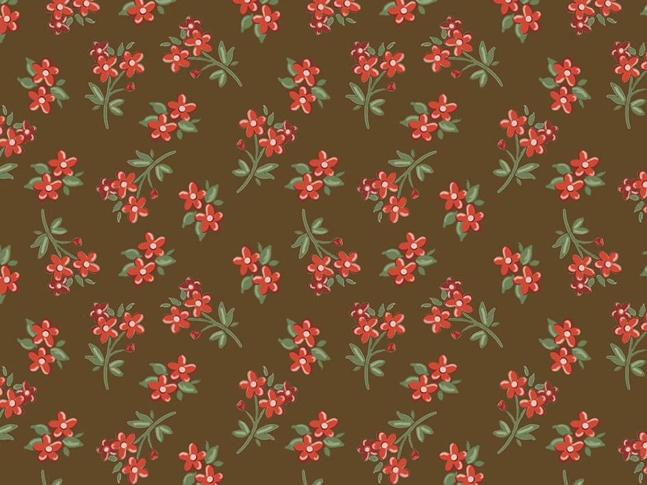 Tecido Digital Micro Bouquet Marrom  - Tecidos Digitais