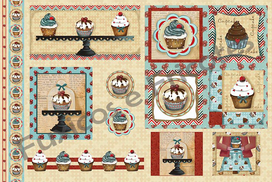 Tecido Digital Painel Cupcake  - Tecidos Digitais