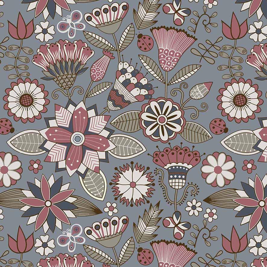 Tecido Floral Grande Bali Fundo Azul  - Tecidos Digitais