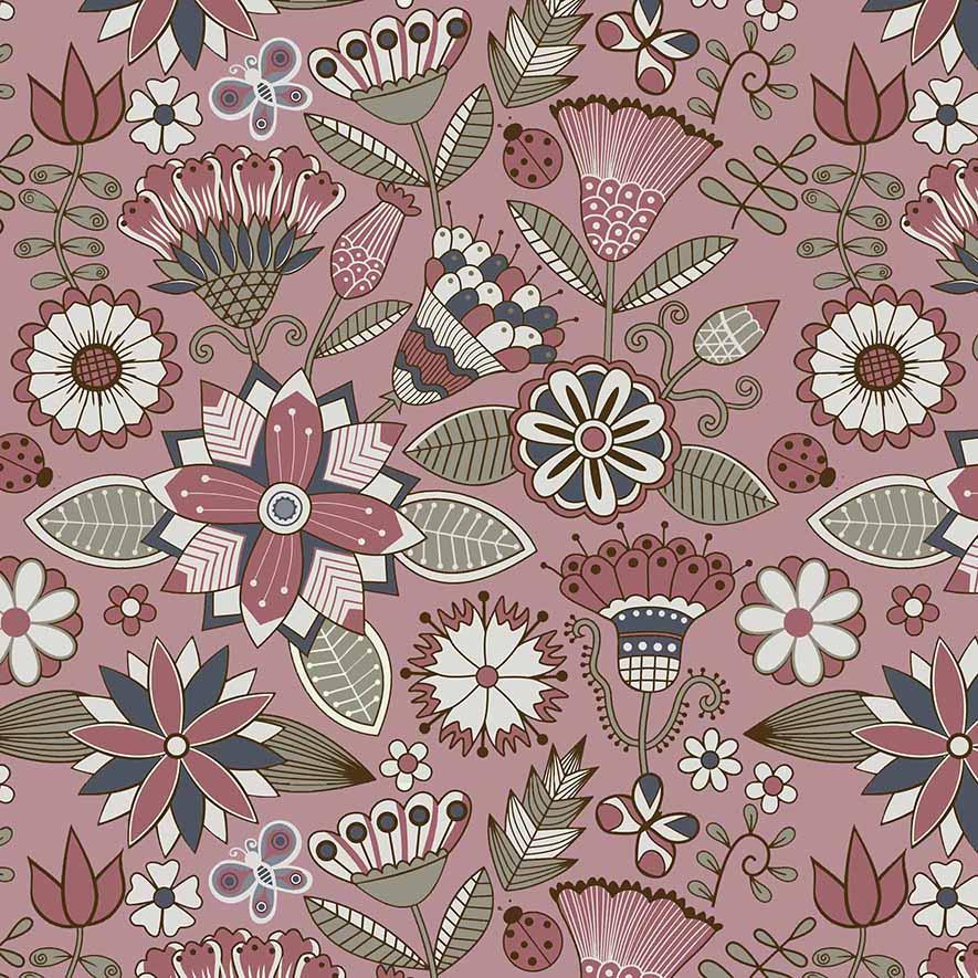 Tecido Floral Grande Bali Fundo Rosa  - Tecidos Digitais