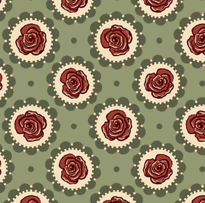 Tecido Floral no Círculo Verde  - Tecidos Digitais