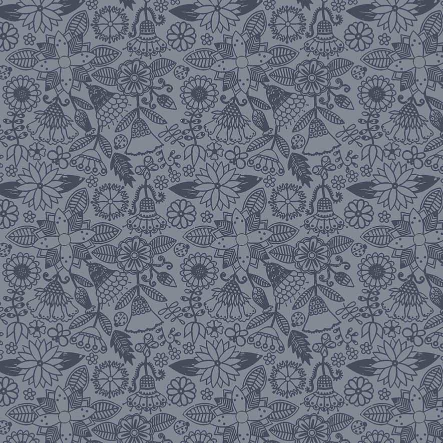 Tecido Floral Tomtom Bali Azul  - Tecidos Digitais