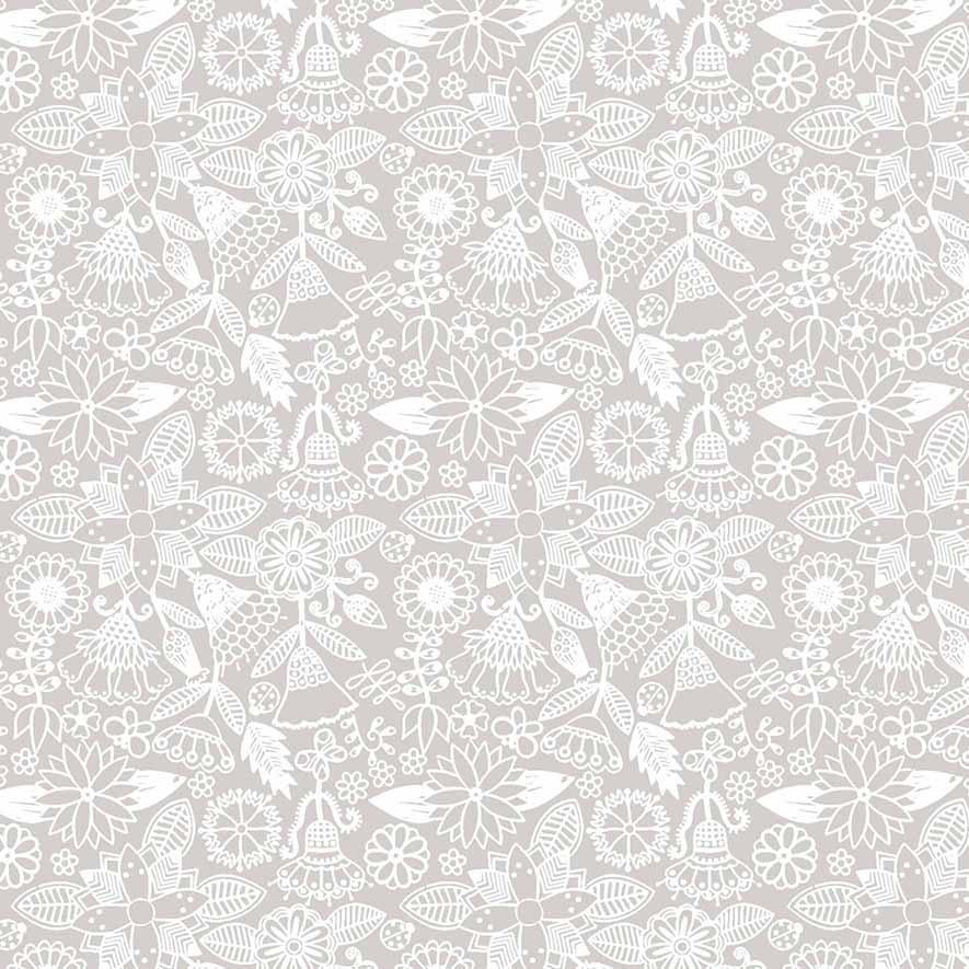 Tecido Floral Tomtom Bali Bege  - Tecidos Digitais