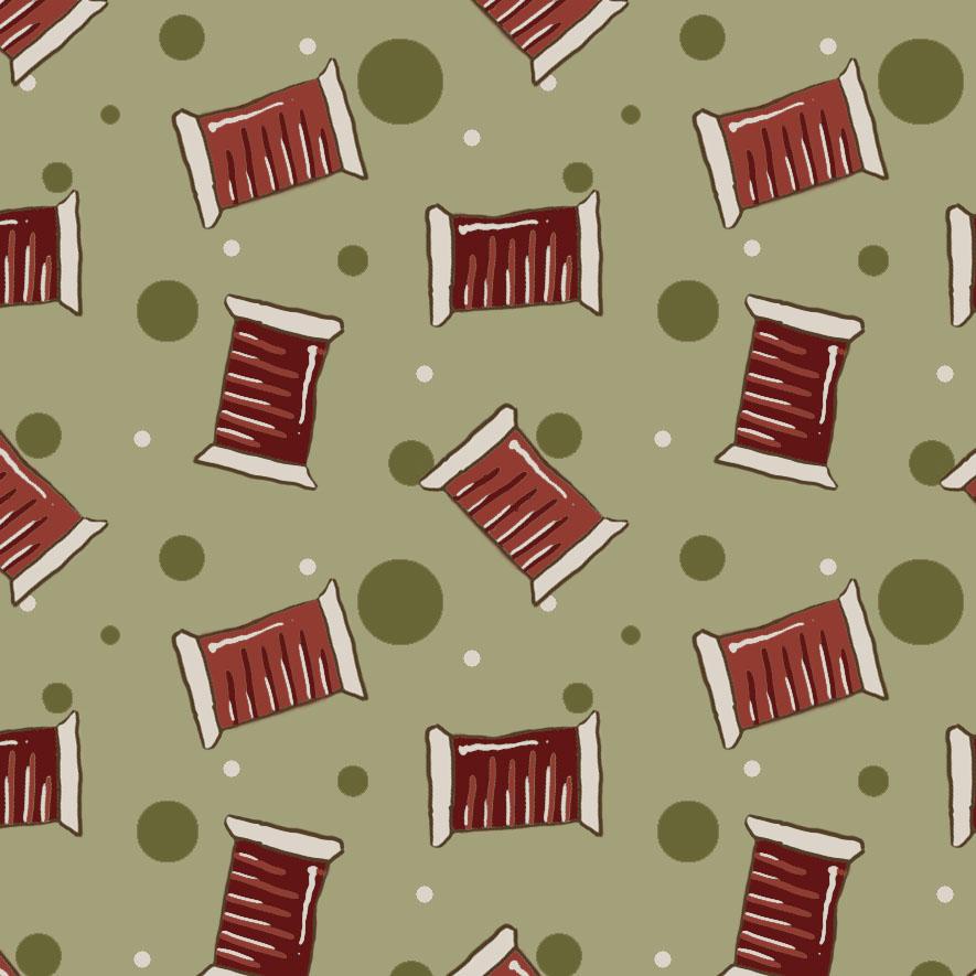 Tecido Mini Carreteis Fundo Verde  - Tecidos Digitais