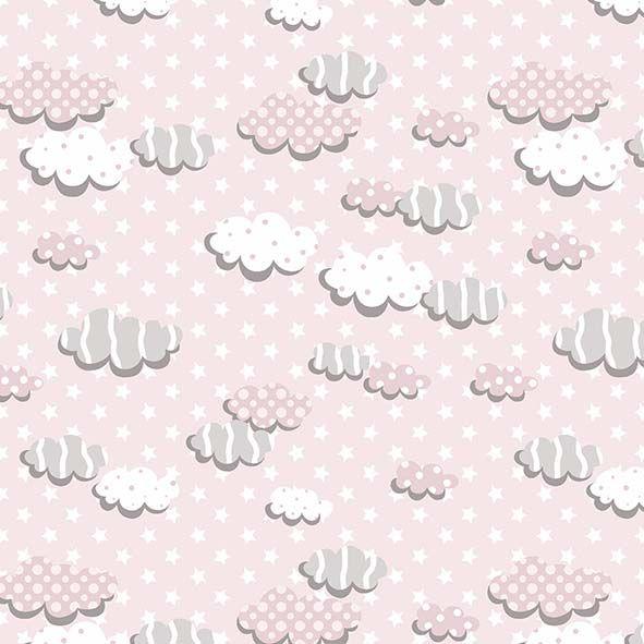 Tecido Nuvens Rosa  - Tecidos Digitais