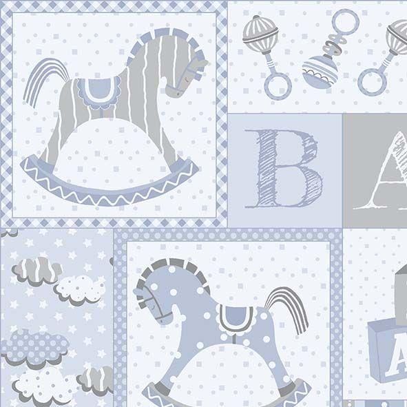 Tecido Painel First Toys Azul  - Tecidos Digitais