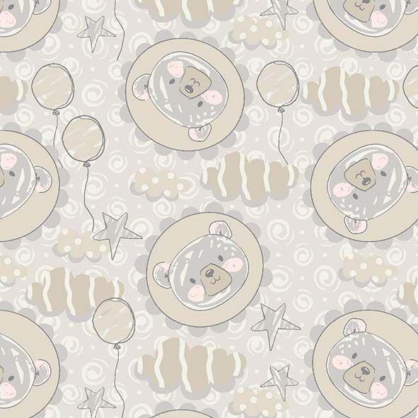 Tecido Ursinhos e Balões  - Tecidos Digitais