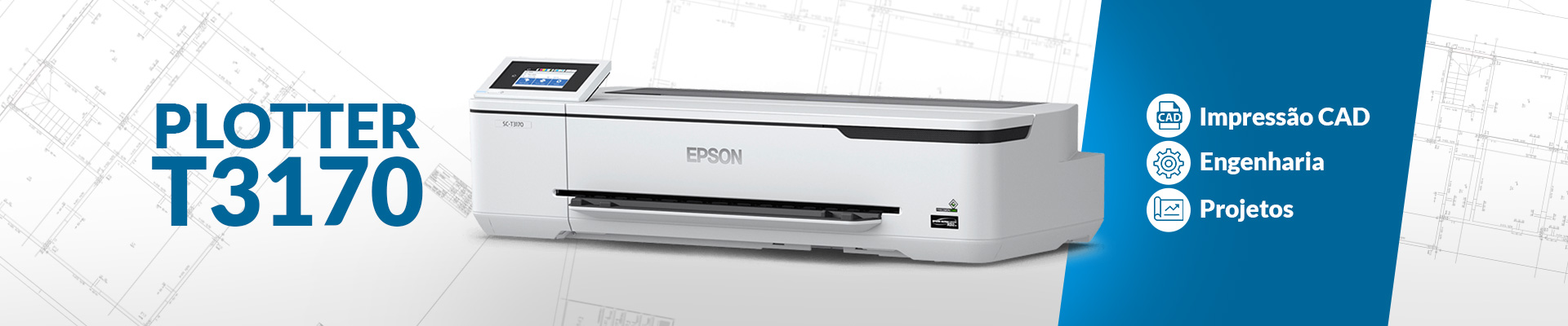Plotter T3170 para impressao CAD Engenharia Projetos