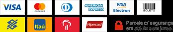 Visa/Master Card/American Express/Diner's Club/Hipercard/Boleto/Mercado Pago/Tray Checkout/PagSeguro