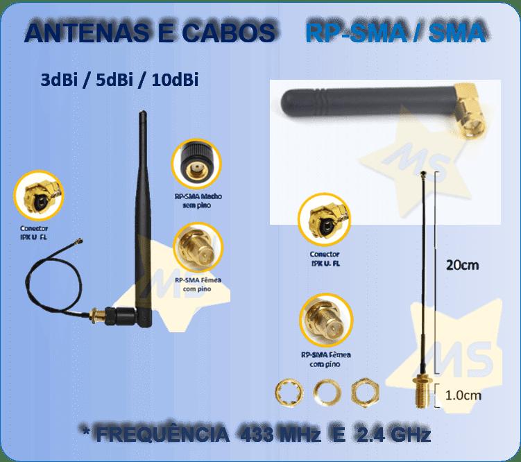 Antenas e Cabos para Módulos WiFi