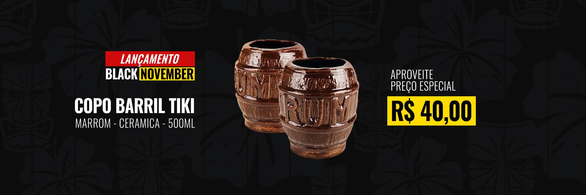 Copo Barril Tiki Cerâmica 500ml - Desconto Balck November