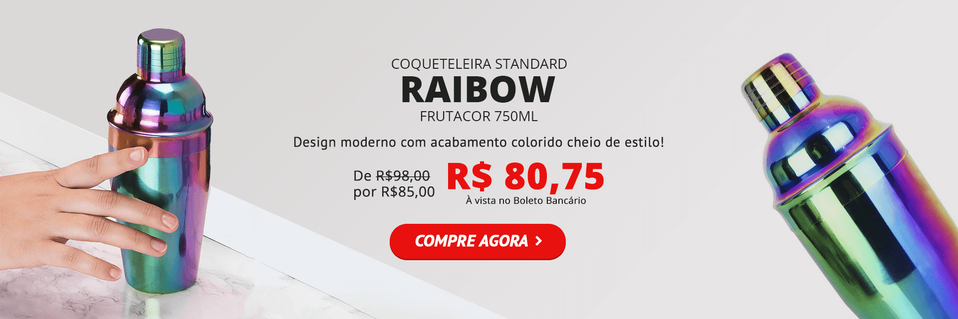 Coqueteleira Colorida Rainbow Frutacor 750ml