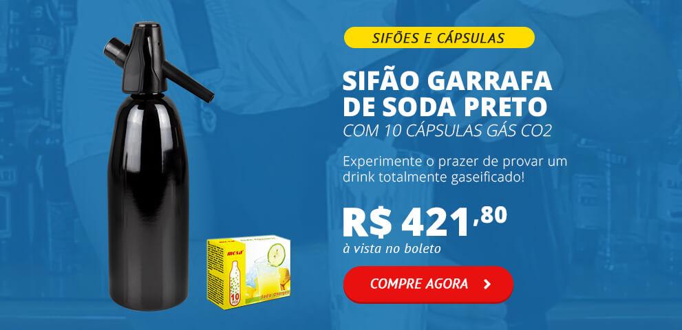 Sifão Garrafa de Soda Preto com 10 Cápsulas Gás CO2